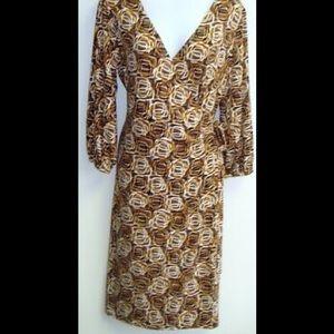 LAUNDRY by Shelli Segal Wrap Dress Carmel Size 12